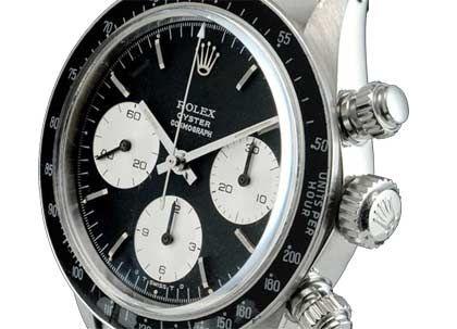 """Für 23.383 Euro wechselte diese Rolex """"Daytona"""" aus Stahl im Dezember bei Ebay den Besitzer - die teuerste Rolex, die bisher über Ebay verkauft wurde. Das Modell ist ein Klassiker aus den 70er Jahren, der neu rund 1000 Euro kostete."""