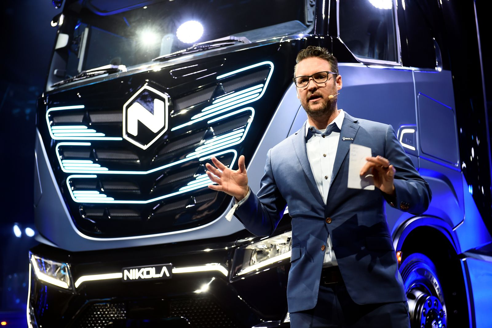 CEO and founder of U.S. Nikola, Trevor Milton speaks during presentation of its new full-electric and hydrogen fuel-cell battery trucks in partnership with CNH Industrial, at an event in Turin