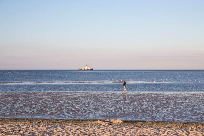 Nordseefeeling in Schillig - am Strand kann man weite Spaziergänge machen, und am Horizont ist oft ein Schiff zu sehen. Wie sich das gehört.
