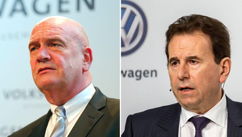 Bezieht VW-Betriebsratschef Bernd Osterloh zuviel Gehalt? Dieser Frage und dem Verdacht der Untreue gehen die Staatsanwälte nach. Sie ermitteln gegen VW-Vorstände, unter anderem Personalvorstand Karlheinz Blessing (rechts)