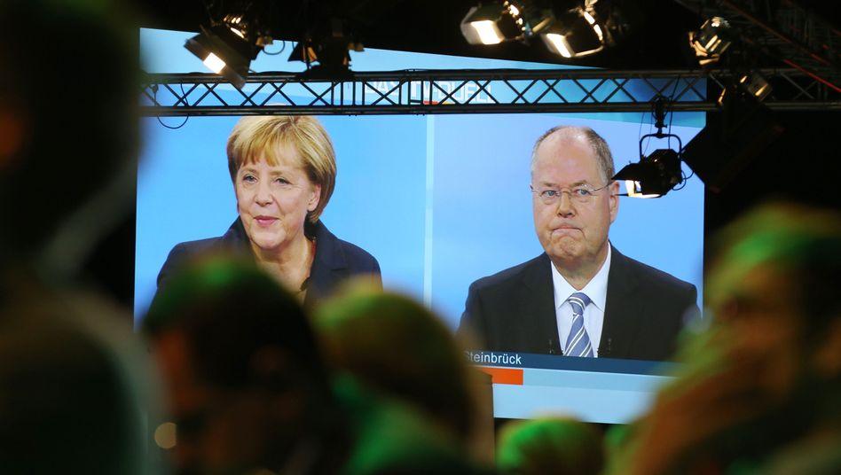 TV-Duell von Bundeskanzlerin Merkel und dem SPD-Spitzenkandidaten Steinbrück: