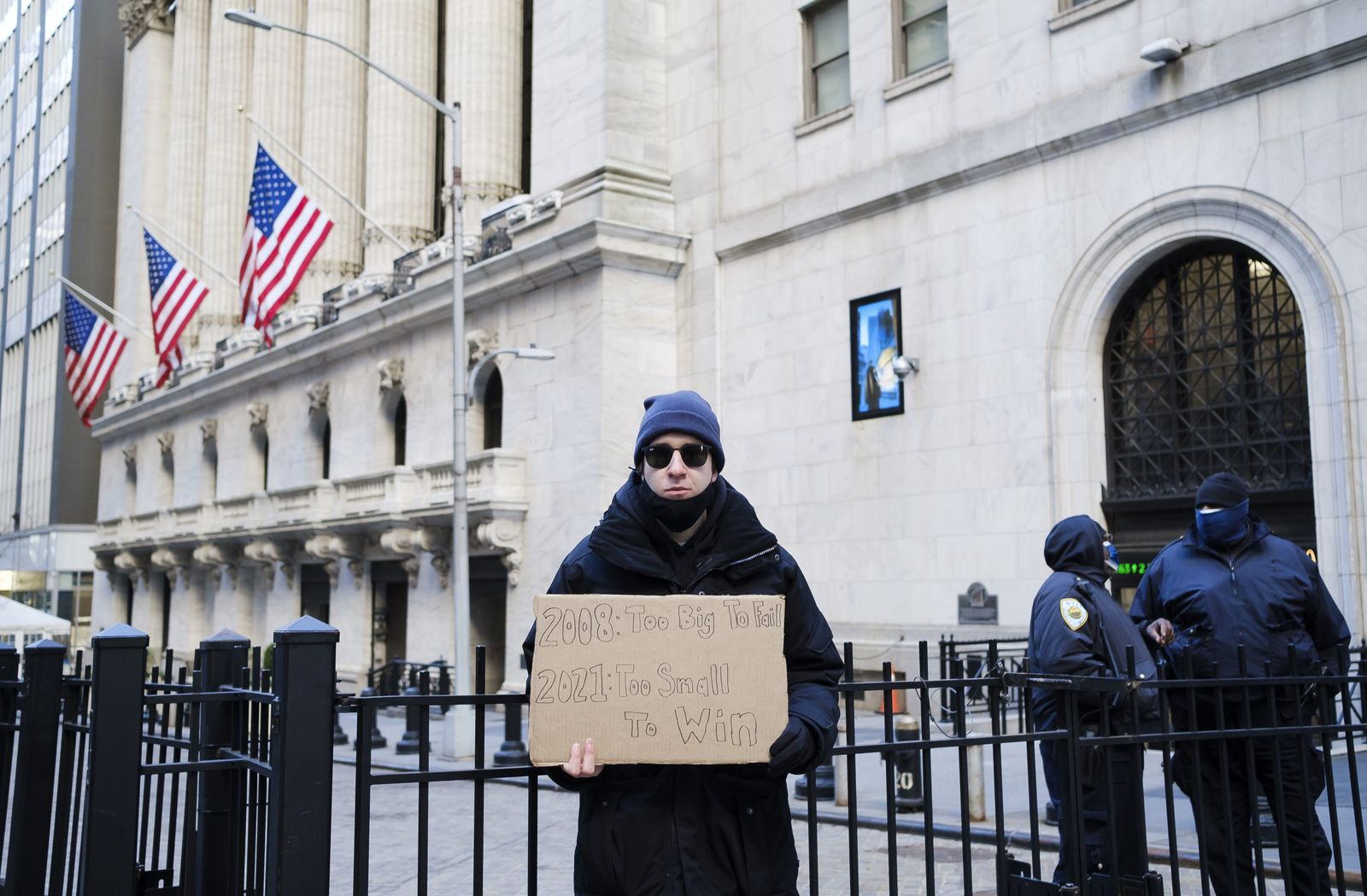 Protest at New York Stock Exchange, USA - 28 Jan 2021