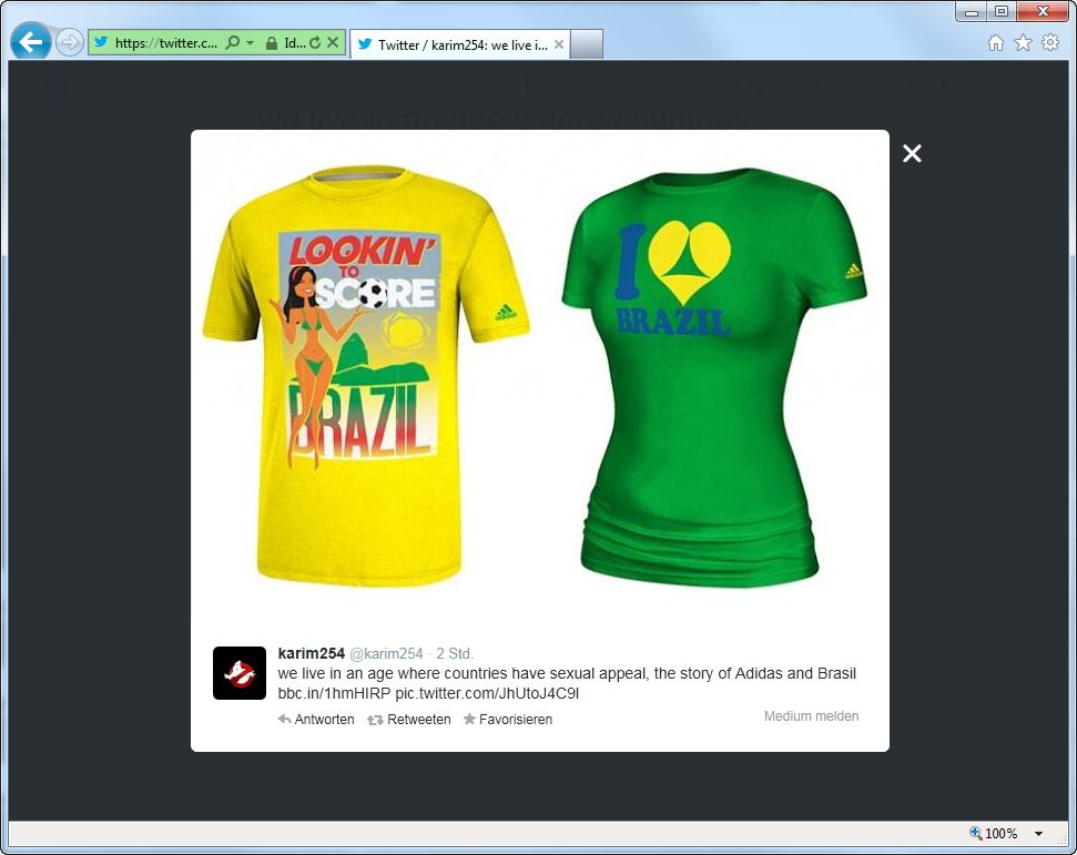 EINMALIGE VERWENDUNG SCREENSHOT twitter Adidas Brasil-T-shirt