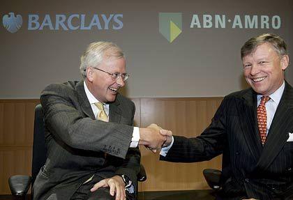 Vergeblich für Fusion geworben: ABN-Chef Groenink (l.), Barclays-Primus Varley