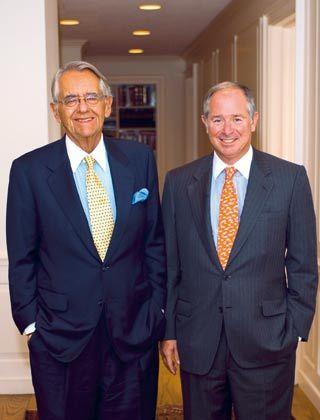 Die Blackstone-Milliardäre: CEO Schwarzman (r.) und Senior Chairman Peterson verdienen prächtig am Börsengang
