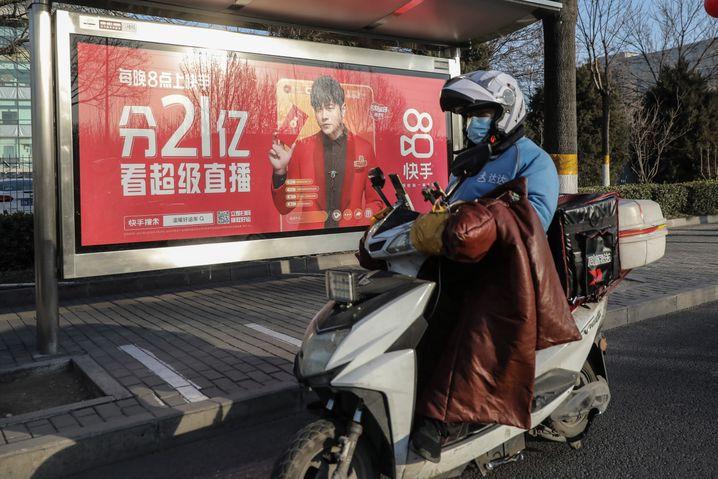 Kuaishou-Werbung in Peking: Investoren rissen sich um die Aktien beim Börsengang in Hongkong