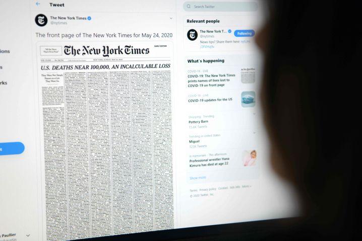 """Die """"New York Times"""" erinnert auf ihrer Titelseite an durch das Cornavirus Verstorbene"""