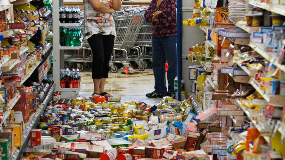 Folgen des Erdbebens an der US-Ostküste in einem Supermarkt in Mineral, Virginia: Bislang wurden außer Unordnung keine größeren Sachschäden gemeldet