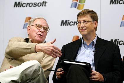 """Split-Verweigerer Warren Buffett (links): """"Auf Geschäftsergebnisse konzentrieren und nicht auf den Kurs"""""""