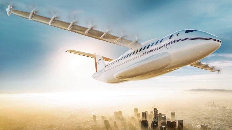 Highflyer:So könnte ein elektrisch angetriebenes Flugzeug aussehen. Das Deutsche Zentrum für Luft- und Raumfahrt will bis 2040 einen Mittelstreckler mit 70 Sitzen am Himmel haben.