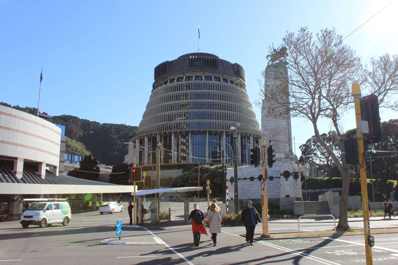 """A view shows the Executive Wing of the New Zealand Parliament complex, popularly known as """"Beehive"""" because of the building?s shape, in Wellington"""