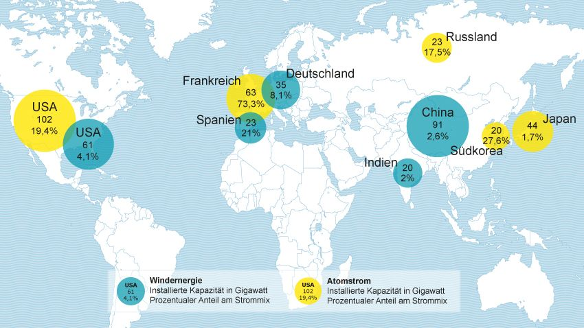 Energie-Weltkarte: Die wichtigsten Windkraft- und Atomkraft-Länder