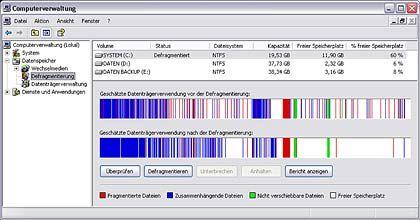 Großreinemachen auf der Festplatte: Beim Defragmentieren werden die gespeicherten Daten sortiert