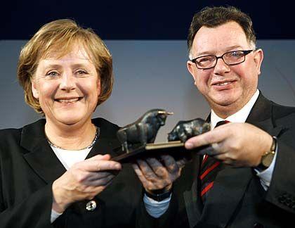 """Merkel mit Börsenchef Francioni: """"Ohne effiziente Kapitalmärkte sind keine funktionierenden Volkswirtschaften denkbar"""""""