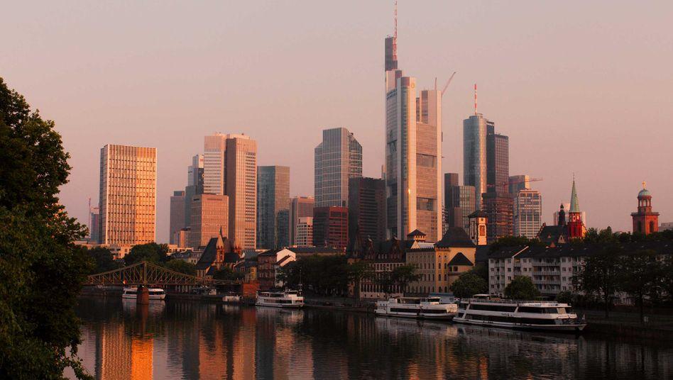 Blick aufs Bankenviertel in Frankfurt am Main