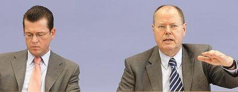 Miese Aussichten: Bundesfinanzminister Peer Steinbrück rechnet weiter mit einer schlechten Entwicklung der Konjuktur