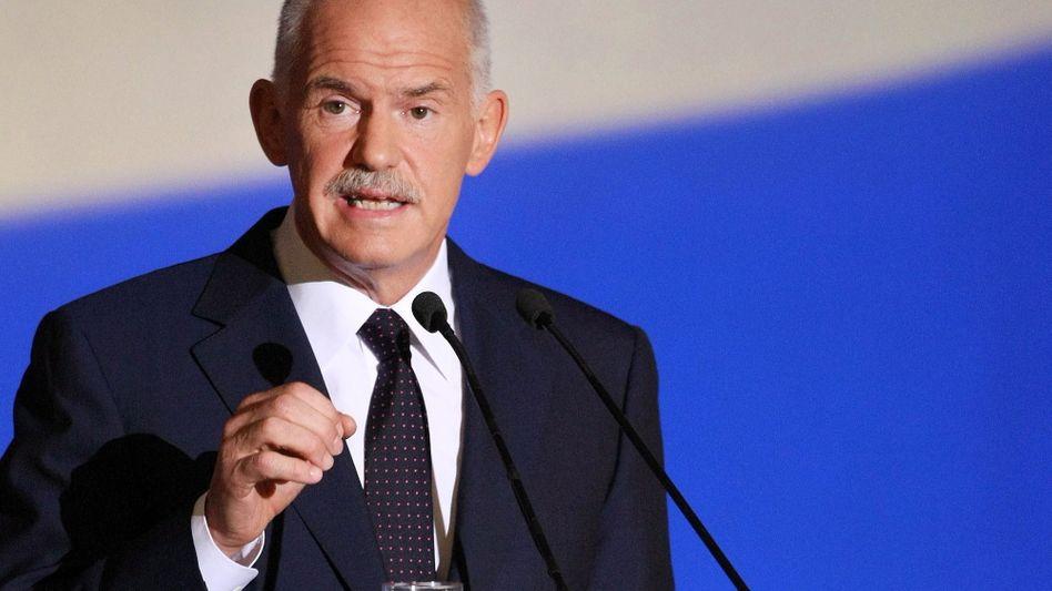"""Griechenlands Premier Papandreou: """"Die Bürger sollen befragt werden, ob sie den neuen Hilfszusagen der internationalen Geldgeber zustimmen wollen oder nicht"""""""