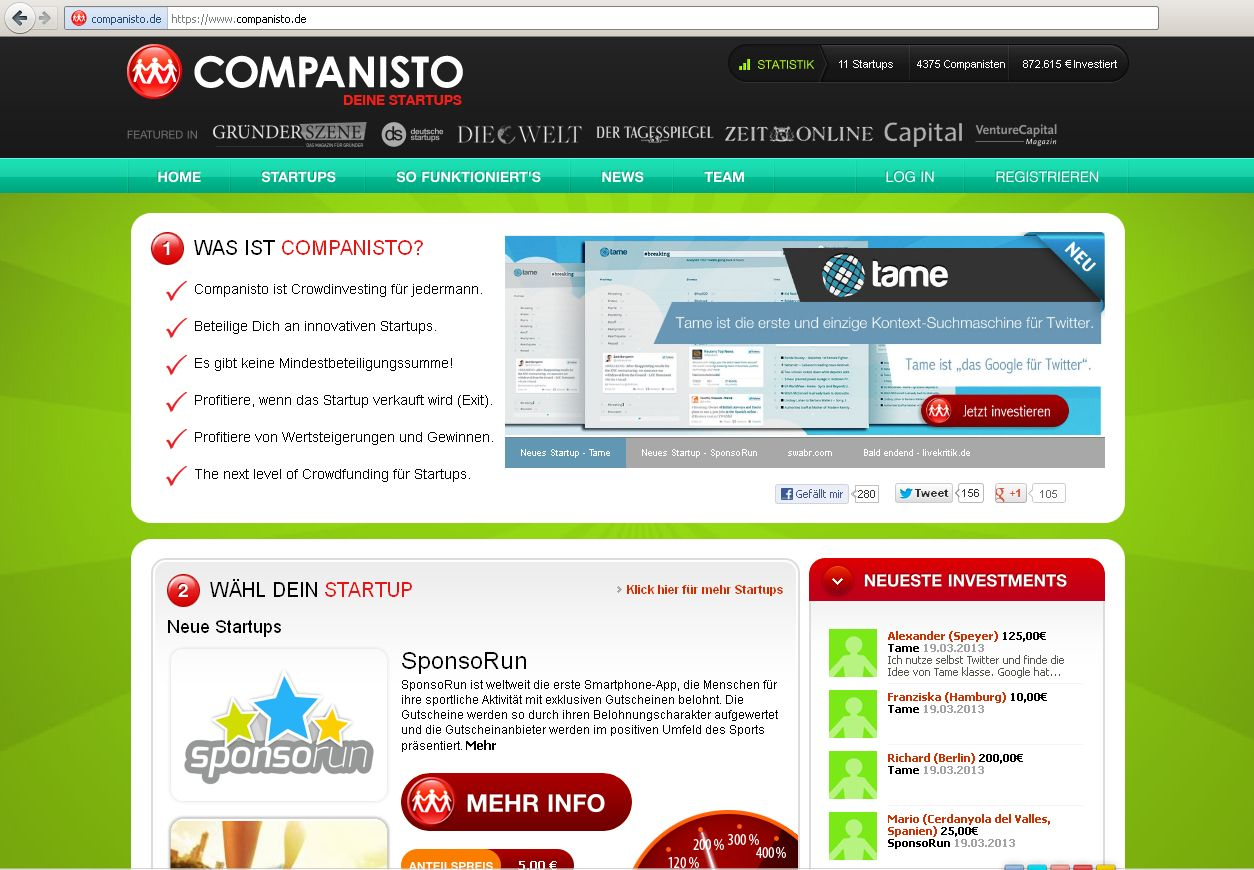 SCREENSHOT companisto.de