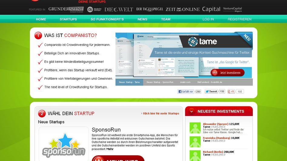 Screenshot der Crowdinvesting-Plattform Companisto: Das insolvente Startup Returbo holte sich dort noch 2015 gut eine Million Euro