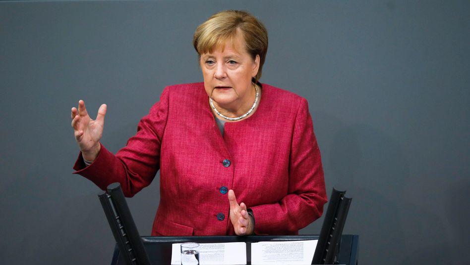 Kanzlerin Merkel am Mittwoch im Bundestag