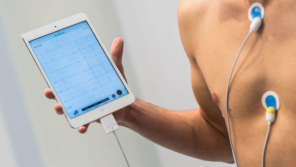 EKG-Messung auf Tablet-PC
