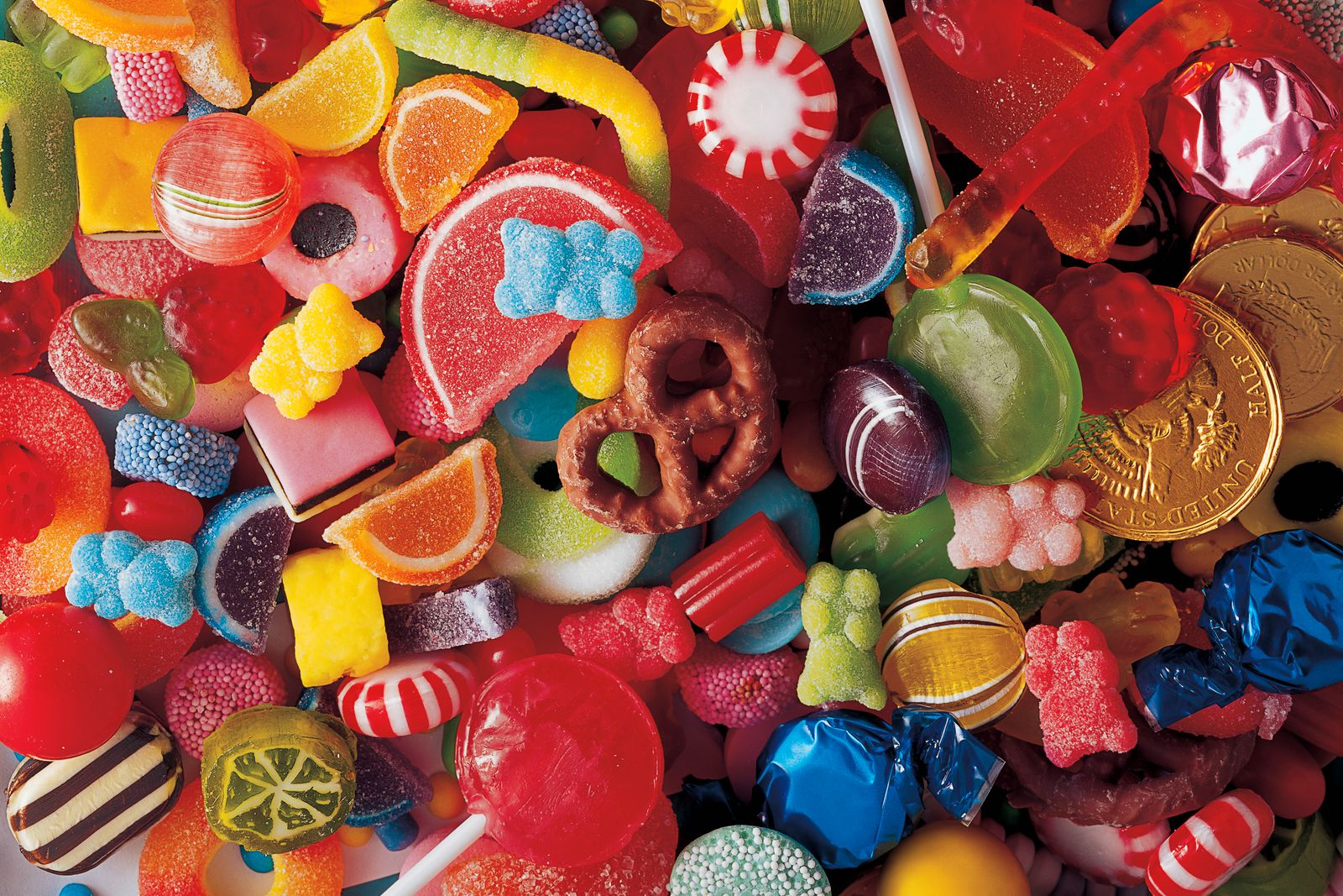 High angle view of a heap of candies