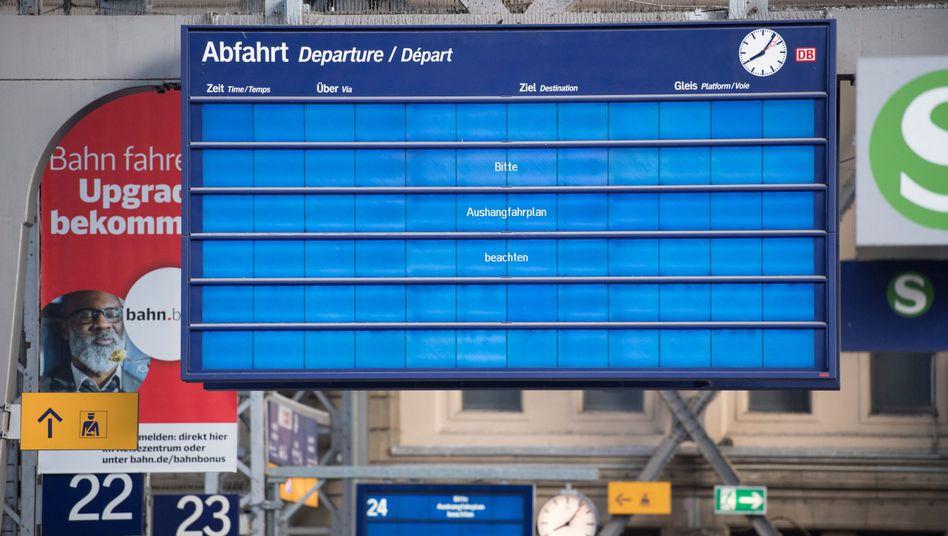 Probleme auch bei der Deutschen Bahn - glücklicherweise aber wohl nur auf Anzeigetafeln in Bahnhöfen