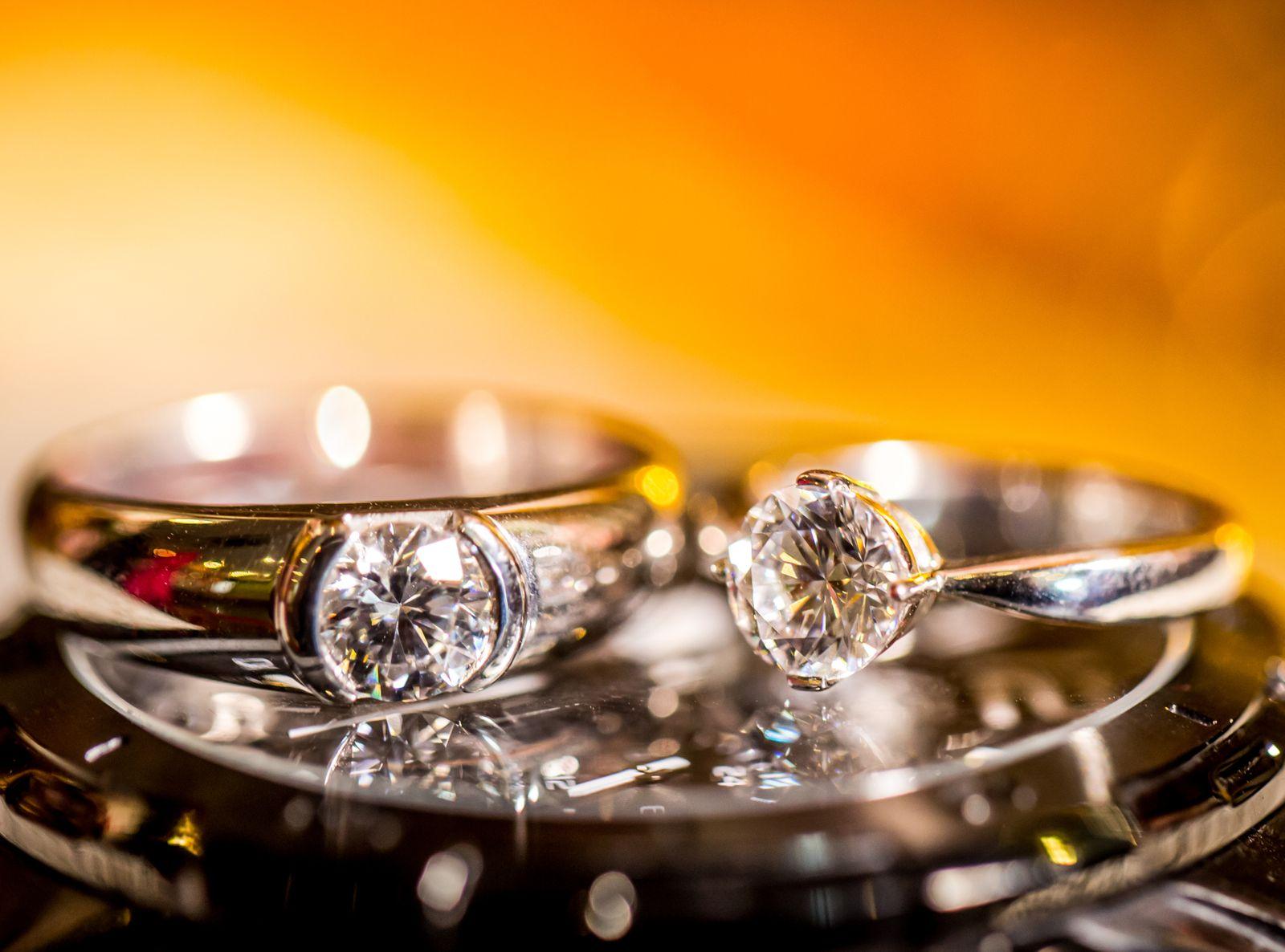 Close Up Of Diamond Rings