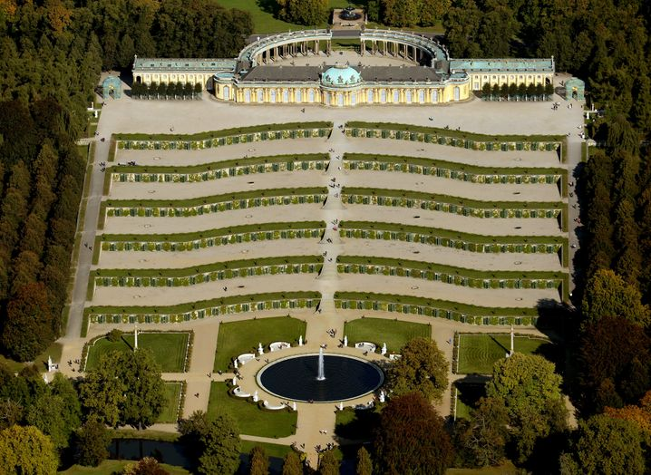 Ganz von oben: Das Schloss Sanssouci in Potsdam