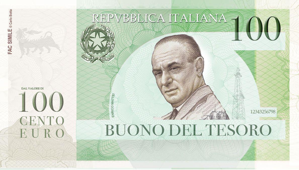EINMALIGE VERWENDUNG Italien Mini-Bot 100 Euro Note / Vorderseite