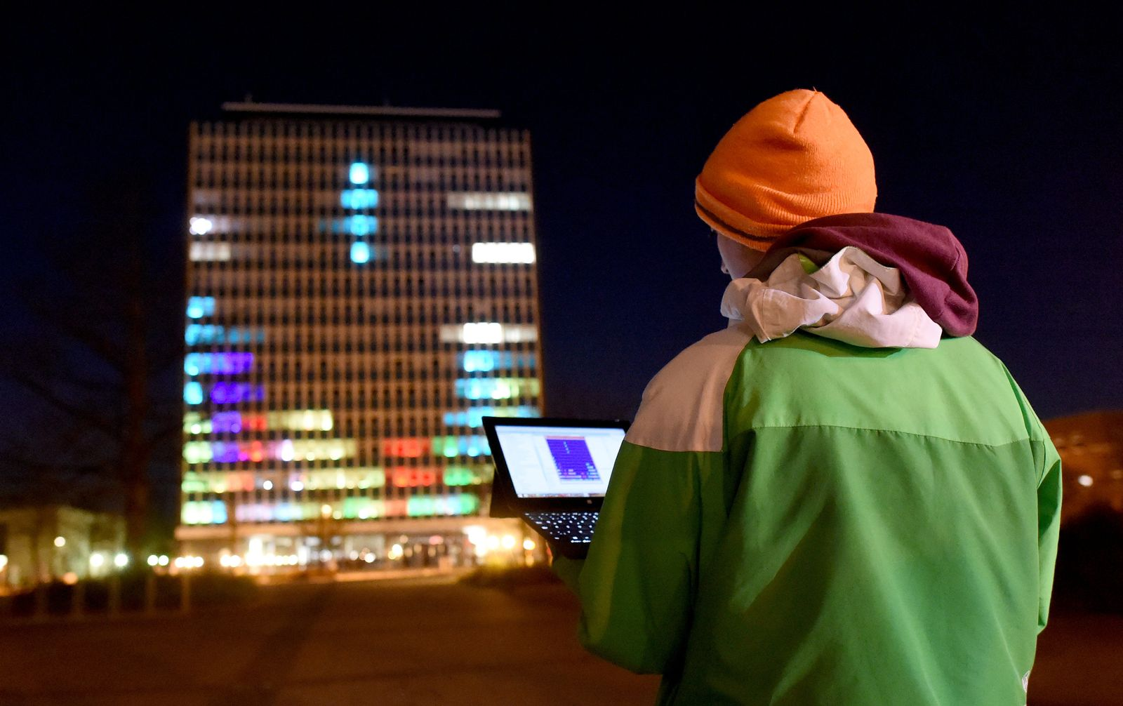 Tetris am Uni-Hochhaus