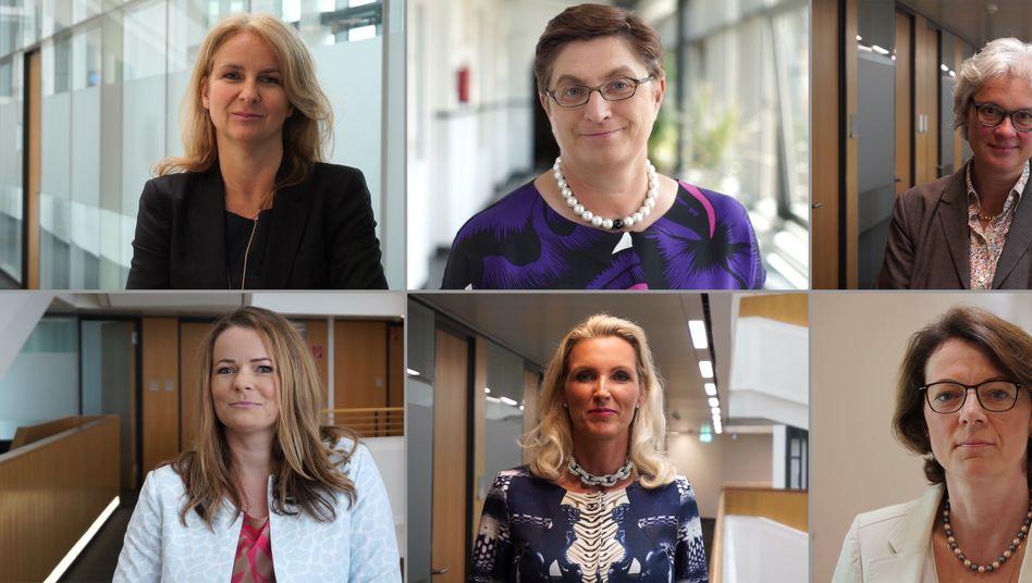Berichten, was sie erfolgreich macht: Aleksandra Solda-Zaccaro (G+J), Marie-Theres Thiell (RWE), Angelika Wetzstein (MAN), Eva Kreienkamp (MVG Mainz), Andrea Och (Andrea Och Consulting) und Kerstin Günther (Deutsche Telekom) (von links oben nach rechts unten)