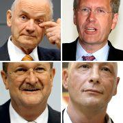 Piëch, Wulff, Hück und Wiedeking (im Uhrzeigersinn von oben links): Strippenzieher im Machtpoker