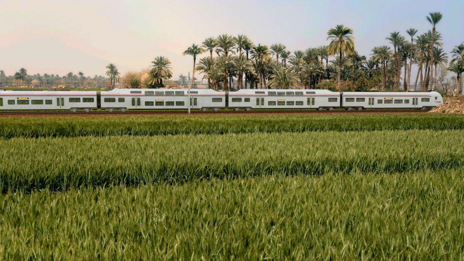 So könnte es einmal aussehen: Die Illustration zeigt einen Zug in Ägypten - so, wie er künftig über das Schienennetz von Siemens fahren könnte