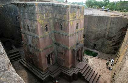 Pflichtprogramm für Äthiopien-Urlauber: Die Felsenkirchen von Lalibela aus dem 12. Jahrhundert