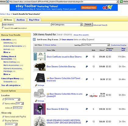 Bear Stearns: Souvenirs bei Ebay