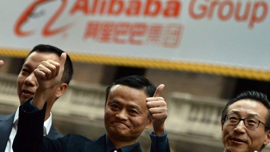 Daumen hoch: Alibaba-Gründer Jack Ma sorgte kurzzeitig für Feierlaune in New York - doch die Stimmung an der Börse kann schnell wieder kippen