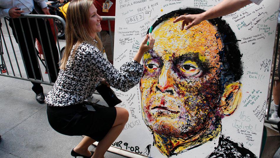 """Protest gegen Lehman-Chef Dick Fuld (nach der Lehman-Pleite im September 2008): """"Eine Gesellschaft aus Egoisten kann keine freie Gesellschaft sein"""""""
