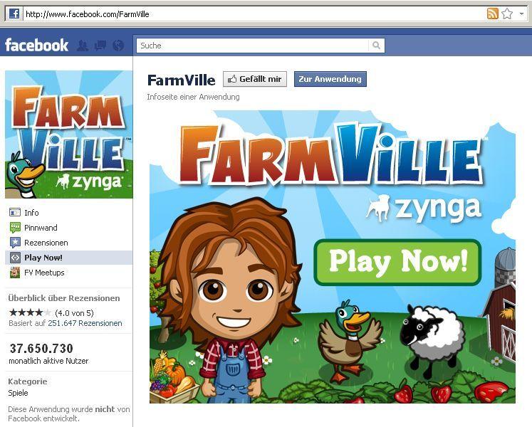 NUR ALS ZITAT Screenshot Facebook / Zynga / Farmville / Games / Spiele