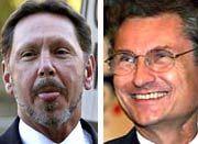 Ewige Kontrahenten: Die Vorstandschefs Larry Ellison (Oracle) und Henning Kagermann (SAP) führen seit Jahren einen erbitterten Wettbewerb im Markt für Unternehmenssoftware. Im Zuge des Instustriespionage-Streits treffen sich die Anwälte der beiden Konzerne jetzt erstmals vor einem US-Gericht.