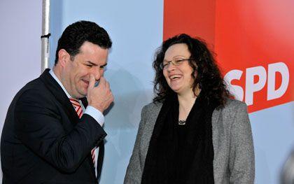 """""""Auf das Bundestagsmandat konzentrieren"""": Hubertus Heil (links) mit Andrea Nahles, die ihn als Generalsekretärin beerben könnte"""