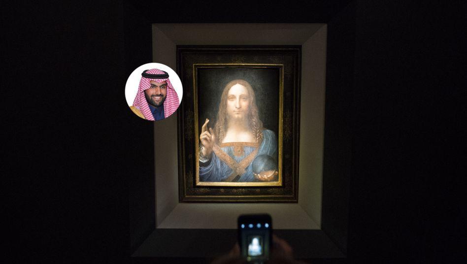 """Stolzer Besitzer: Prinz Bader bin Abdullah bin Mohammed bin Farhan al-Saud ersteigerte laut """"New York Times"""" das Gemälde """"Salvator mundi"""" von Leonardo da Vinci für 450 Millionen Dollar - der höchste Preis für ein Kunstwerk auf einer Auktion bisher."""