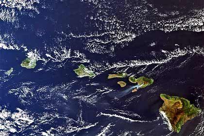Hawaiis Hauptinseln:Der US-Bundesstaat ist der einzige, der nur aus Inseln besteht - von rechts nach links Hawaii, Kahoolawe, Maui, Lanai, Molokai, Oahu, Kauai, Niihau