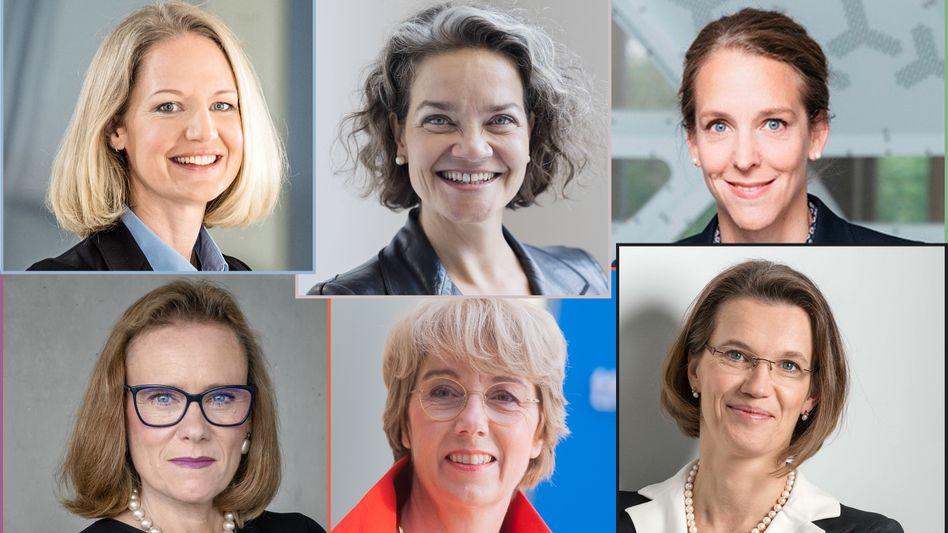 Top-Frauen, die Milliardenunternehmen bewegen (von oben links im Uhrzeigersinn): Anna Maria Braun ist CEO des Medizintechnikherstellers B. Braun Melsungen; Claudia Nemat leitet das Innovationsressort im Vorstand der Deutschen Telekom; Finja Kütz steuert die digitale Transformation der Großbank Unicredit; Britta Fünfstück ist CEO des Medizinprodukte-Unternehmens Hartmann; Martina Merz ist CEO von ThyssenKrupp; Bélen Garjo ist designierte CEO von Merck