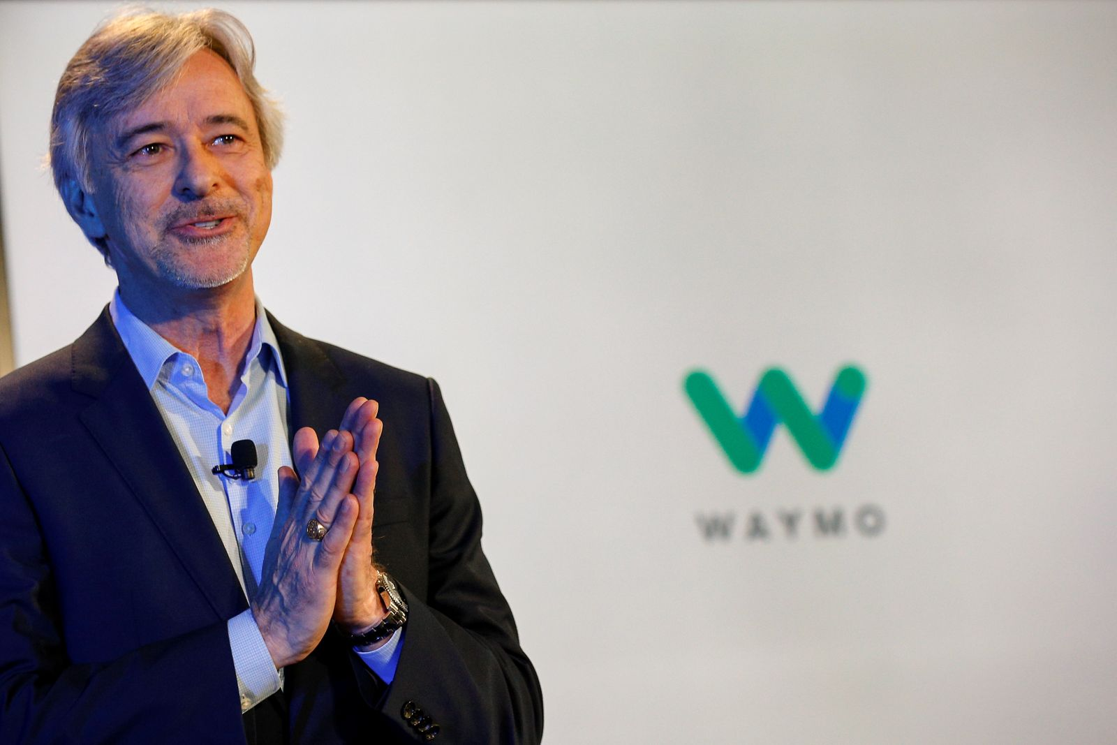 Waymo CEO John Krafcik talks during an unveiling of the Jaguar I-PACE self-driving car by Waymo in the Manhattan borough of New York City