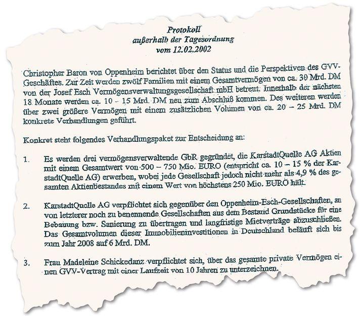 Zugriff: Sal. Oppenheim und Partner Esch wollten an die Immobilien von KarstadtQuelle herankommen (Ausriss eines Sitzungsprotokolls)