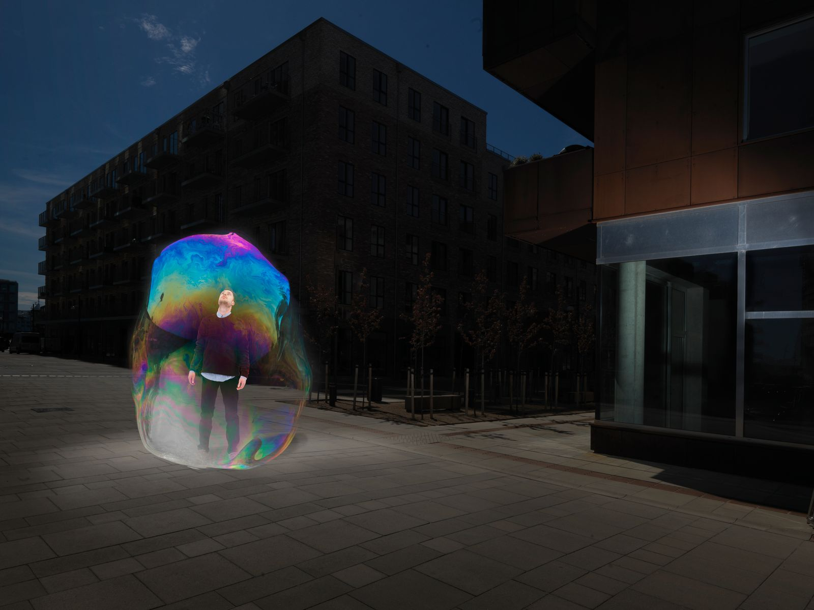 young male in soapbubble