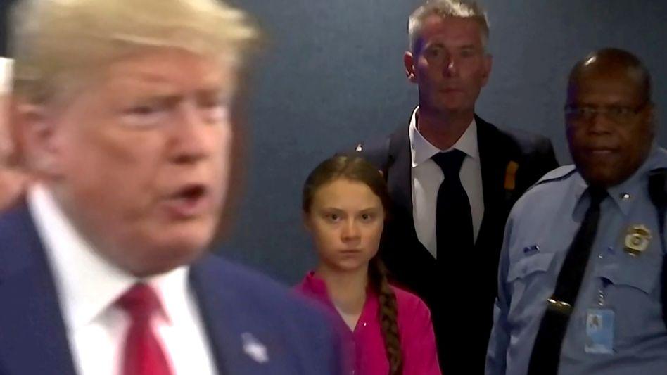Versteinerter Blick: Das Bild zum Aufeinandertreffen der Klimaktivistin Greta Thunberg und US-Präsident Donald Trump im Verlauf des UN-Klimagipfels im vergangenen September sorgte für Furore. Zu einem Treffen der beiden beim Weltwirtschaftsgipfel in Davos wird es wohl nicht kommen.