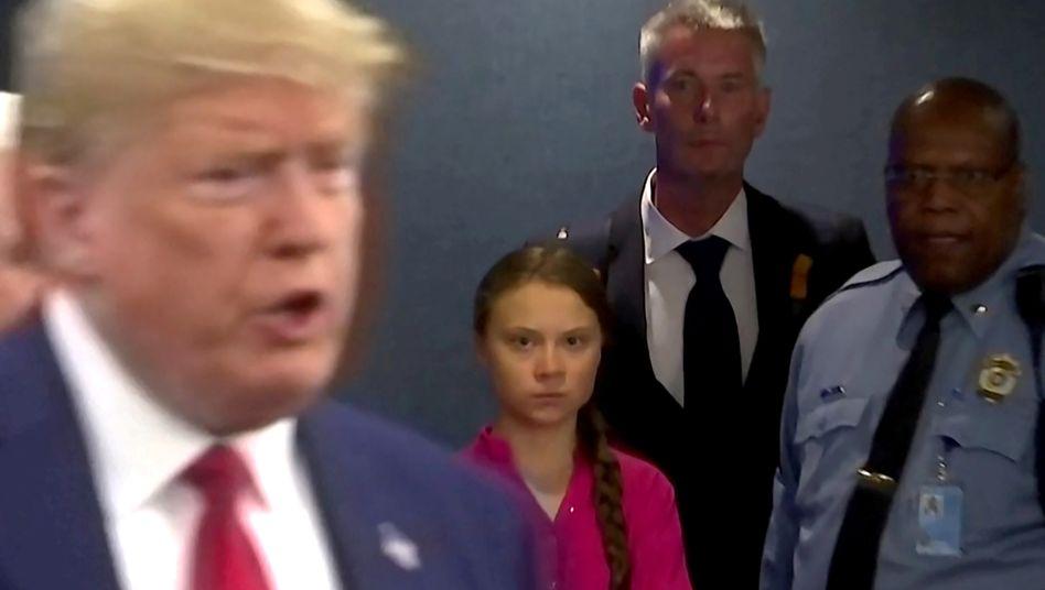 US-Präsident Donald Trump erschien nur kurz zur Rede Thunbergs, war dann aber wieder schnell verschwunden