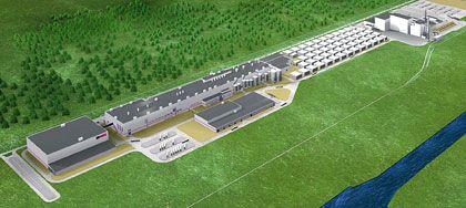 Kurze Wege: Bei Propapier in Eisenhüttenstadt ist das Kraftwerk (rechts oben im Bild) gleich neben der Papierfabrik geplant